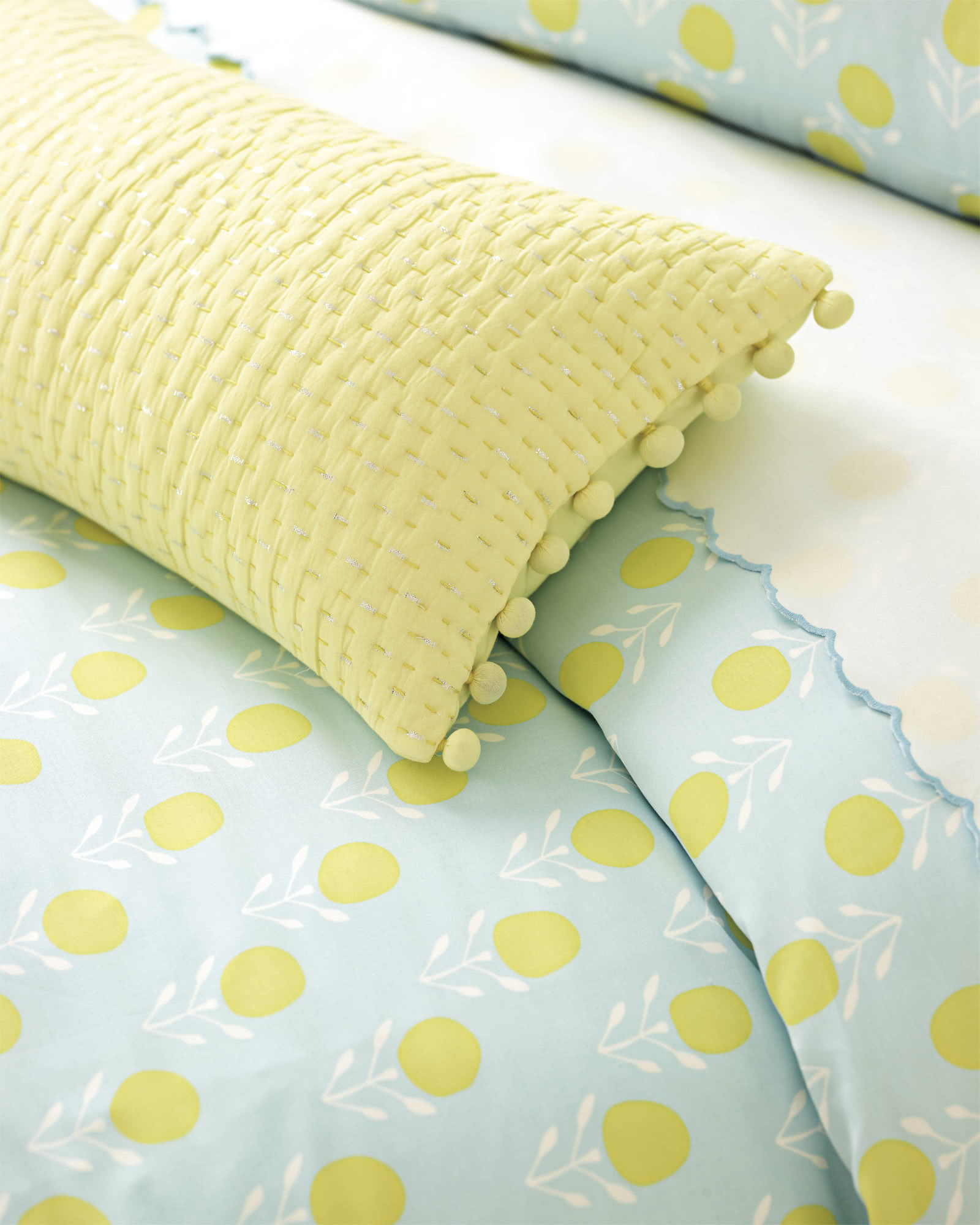Metallic Pickstitch Lumbar Pillow Cover - Yellow