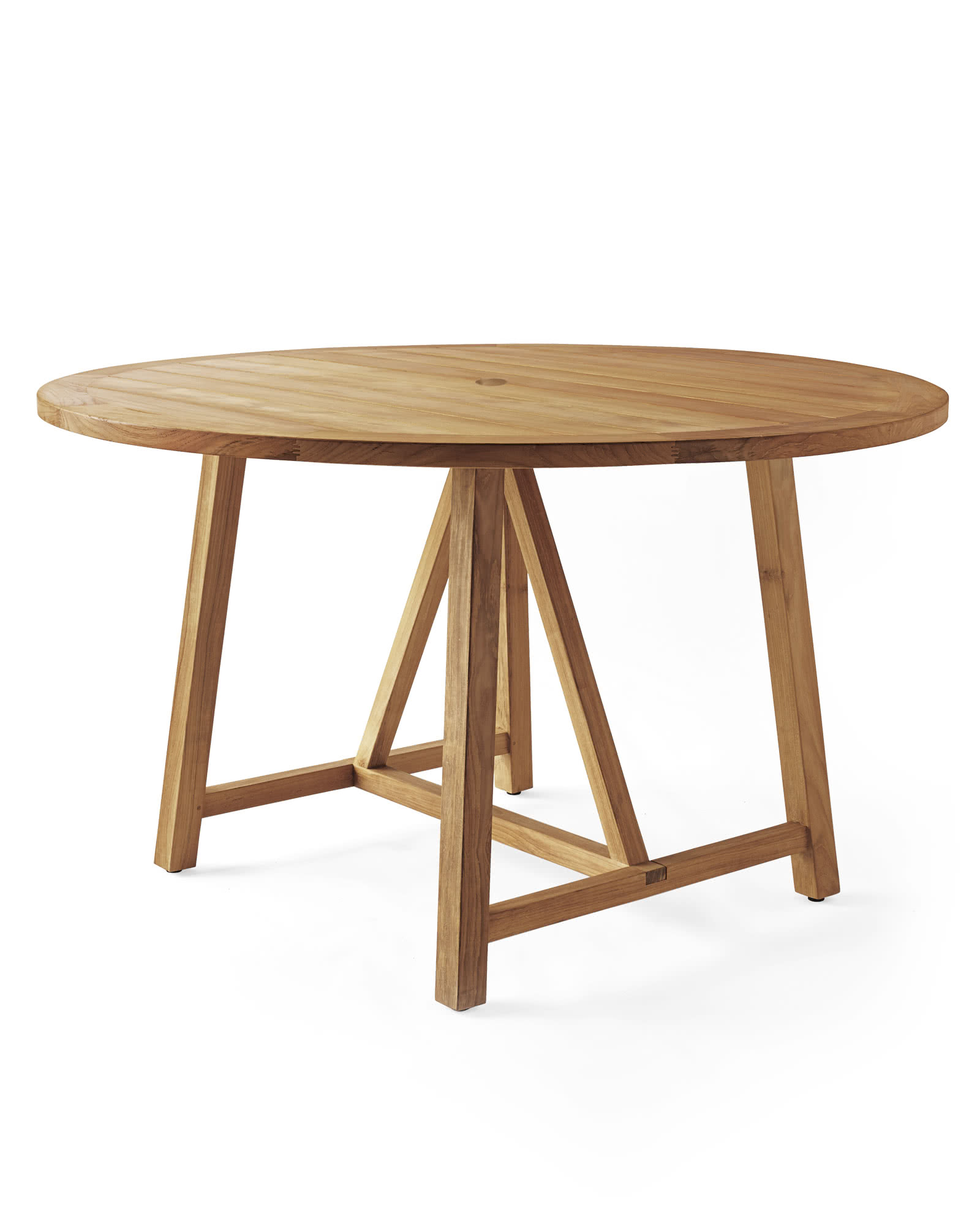 Crosby teak outdoor round dining table serena lily for Outdoor teak dining table