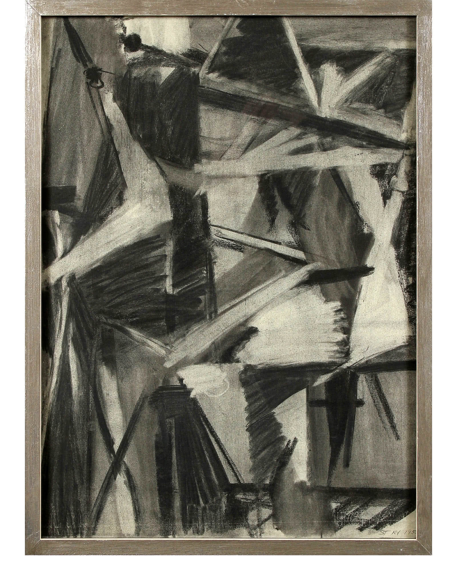"""Modernist Abstraction in Charcoal"" by Seymour Tubis"