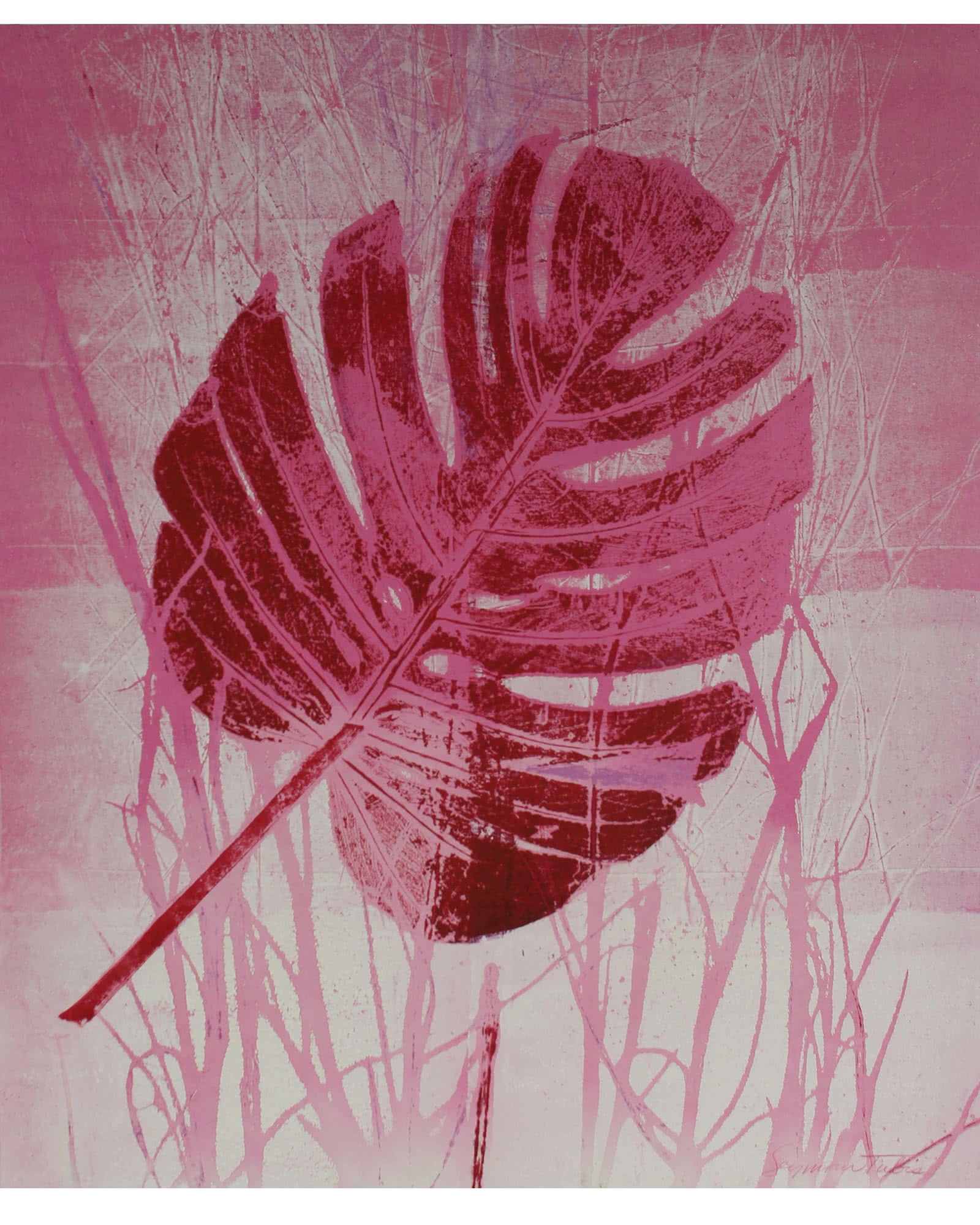"""""""Pink Leaf, Nature Print"""" by Seymour Tubis"""