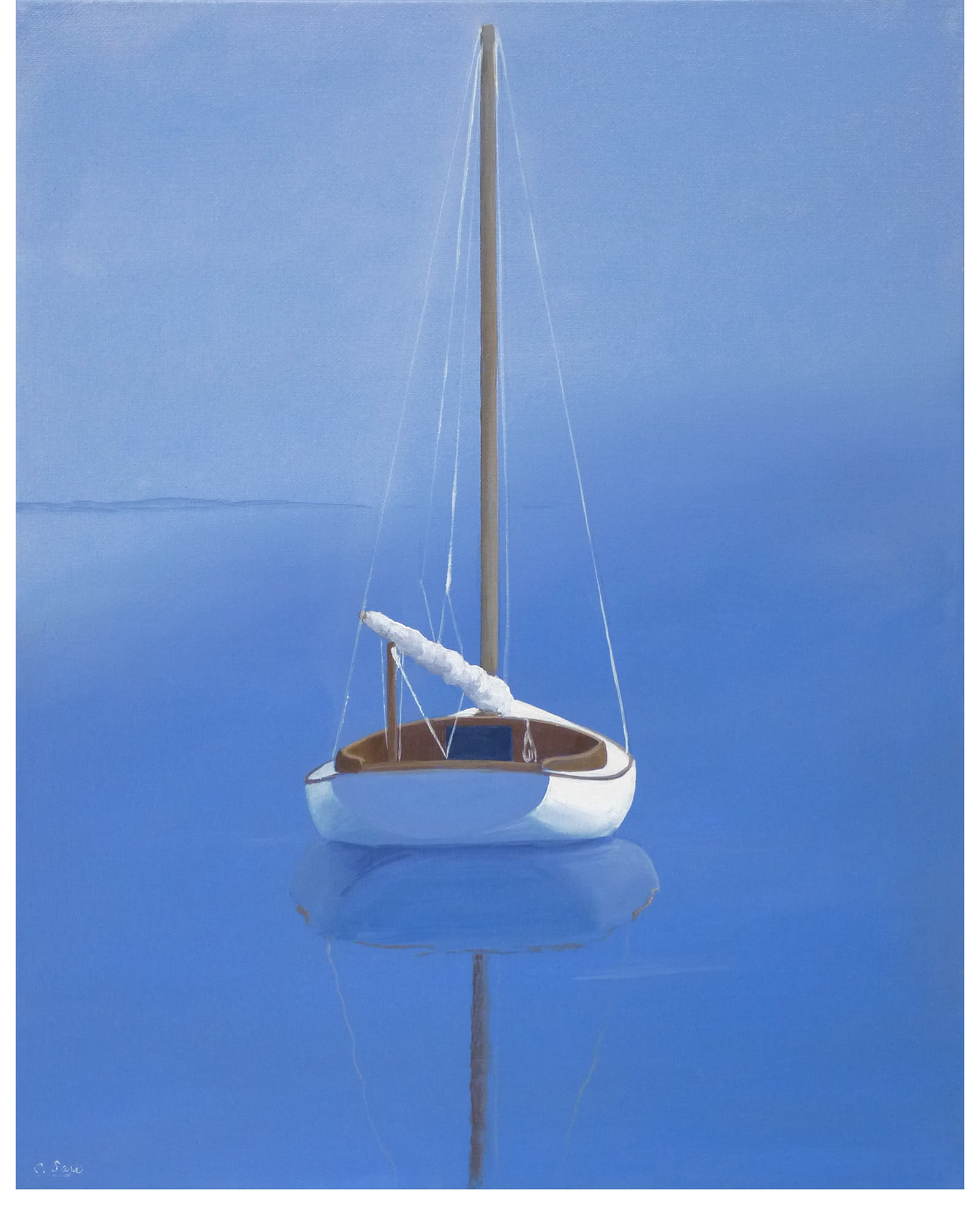 Sailboat Stern Reflections by Carol Saxe
