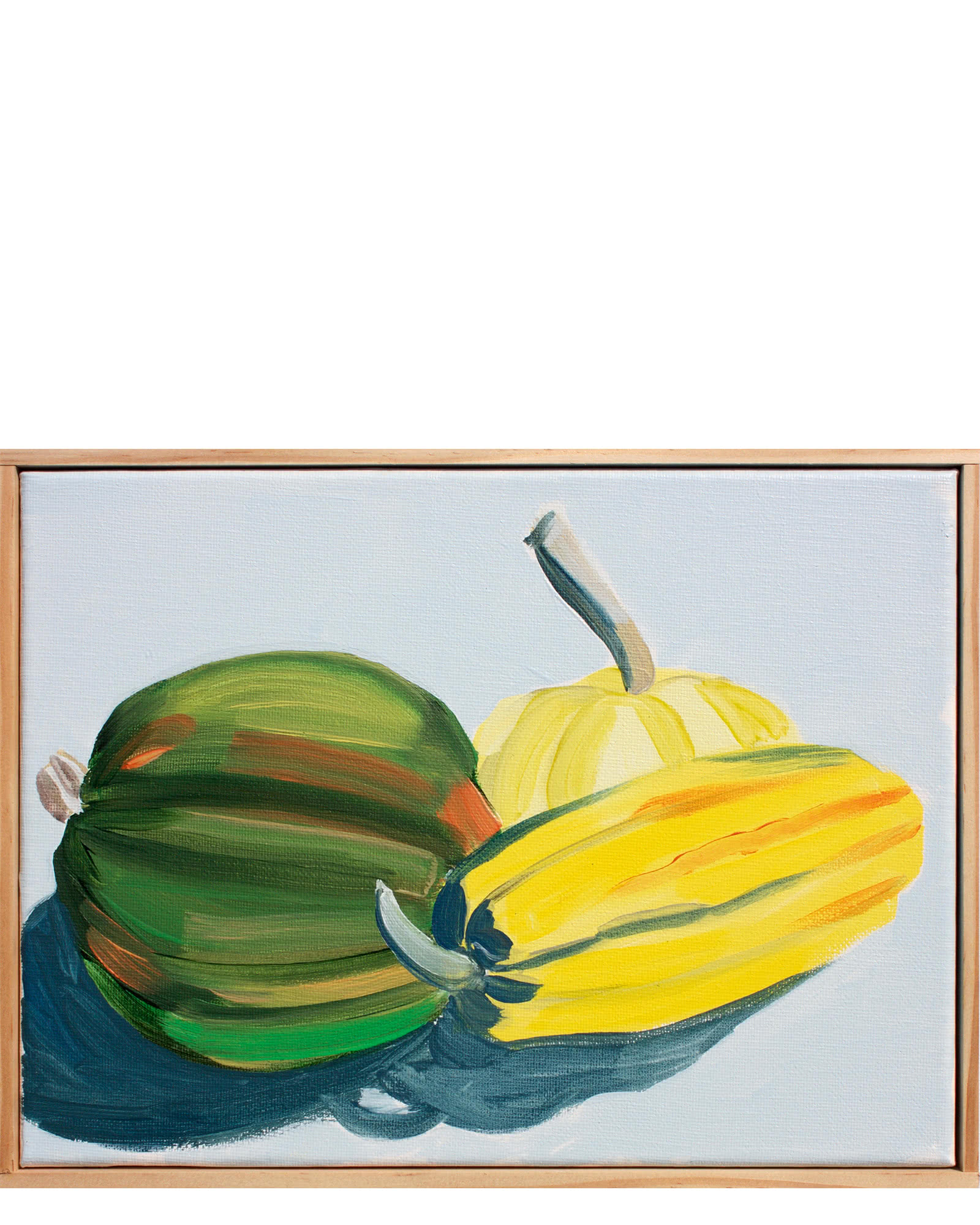"""Winter Dehlinger Squash in French Primary Yellow and Anthraquinone Blue"" by Isabel Vexin"