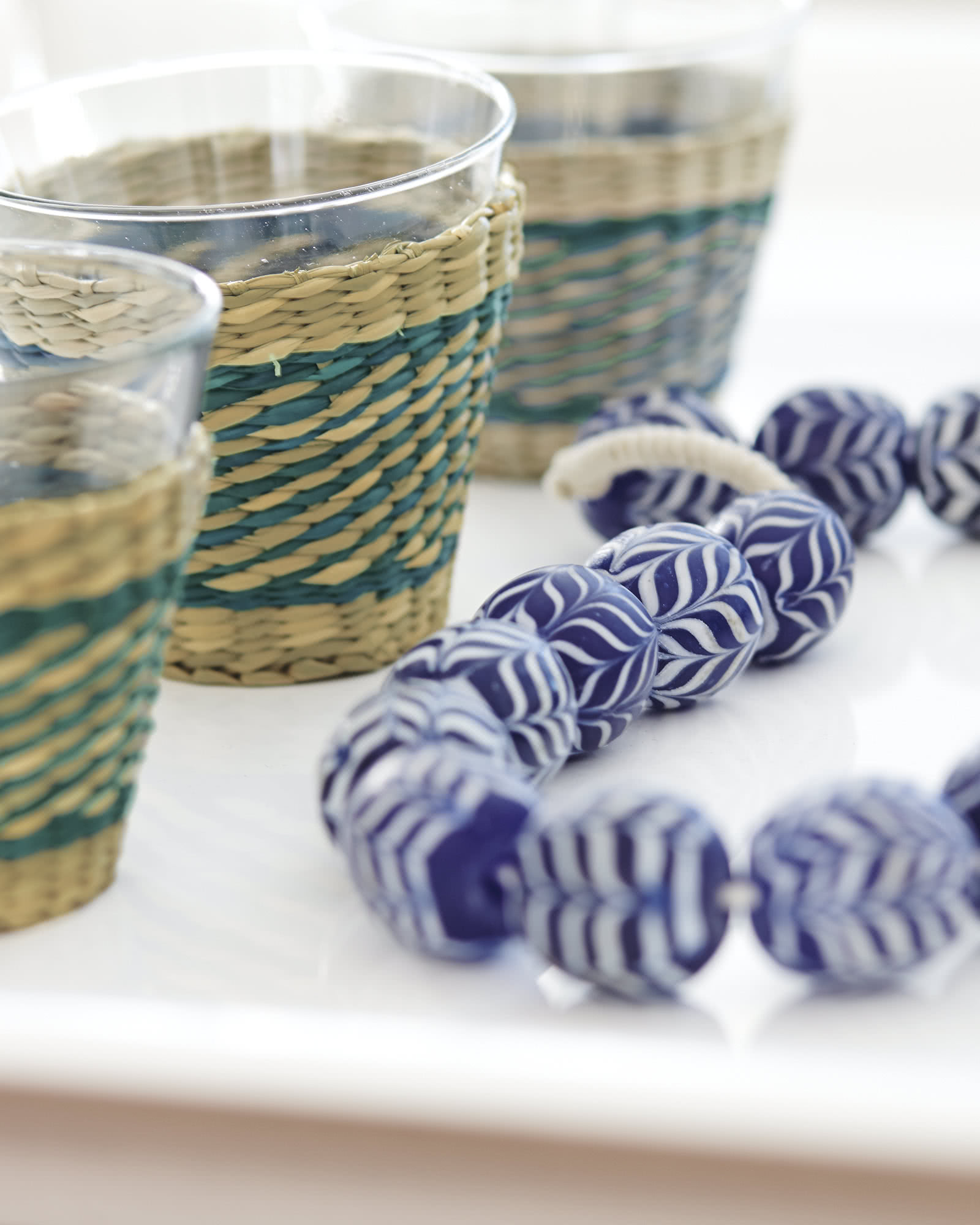 Seagrass Wrapped Glasses - Set of 4