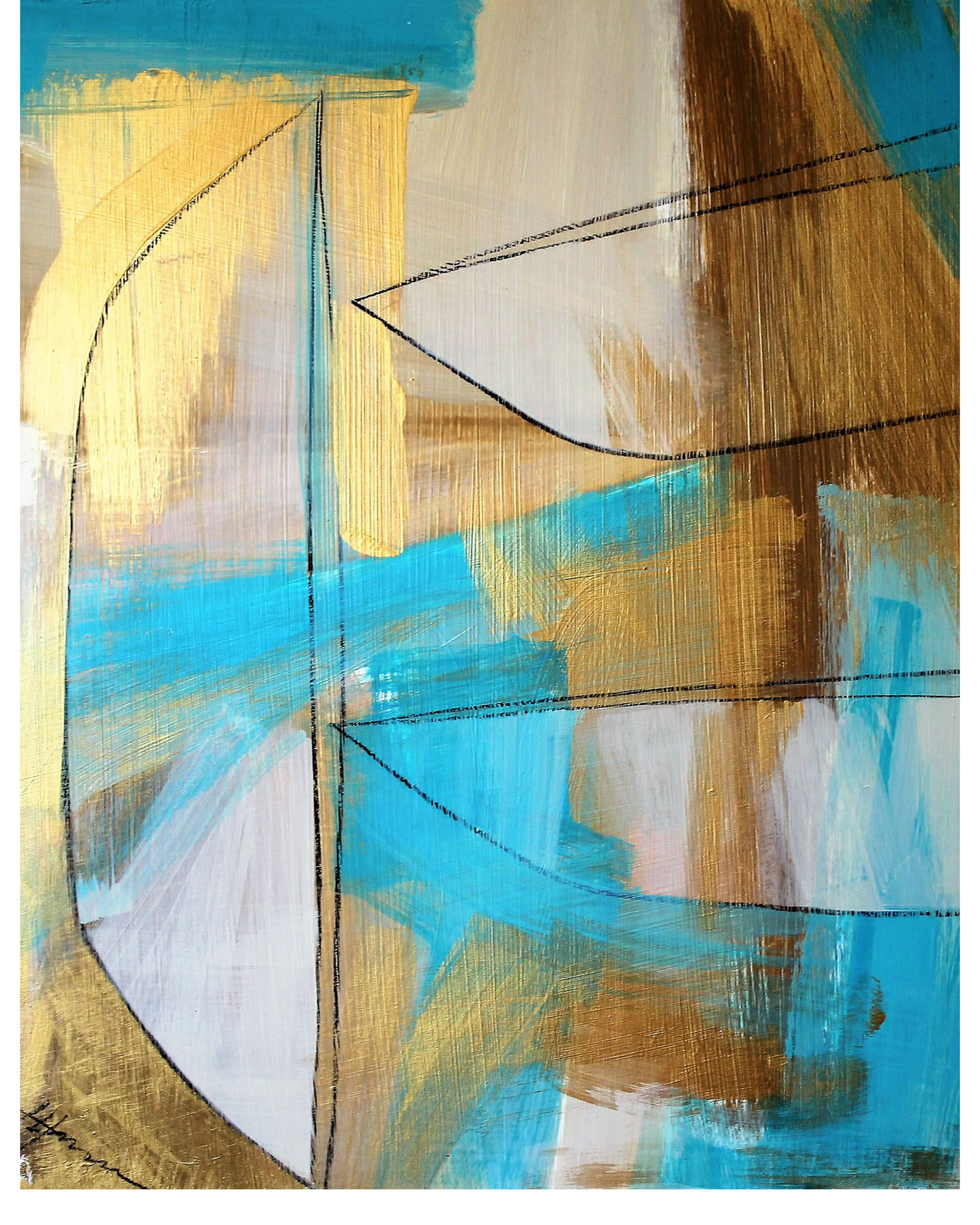"""Gold and Turquoise"" by Julie Hansen"