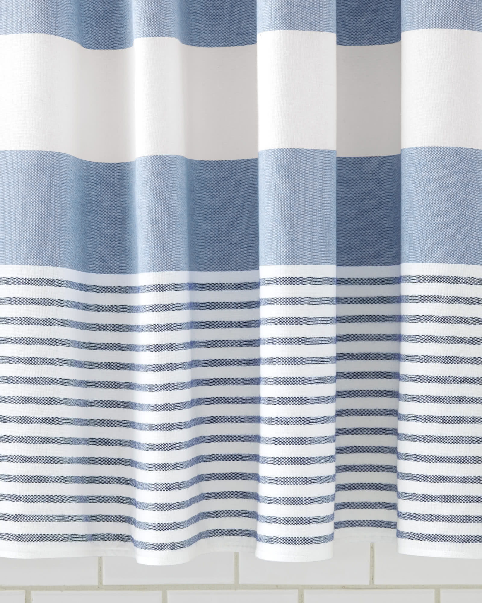 grey and navy shower curtain. Fouta Shower Curtain  Serena Lily