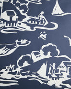 Skylake Toile Wallpaper Swatch, White/Navy