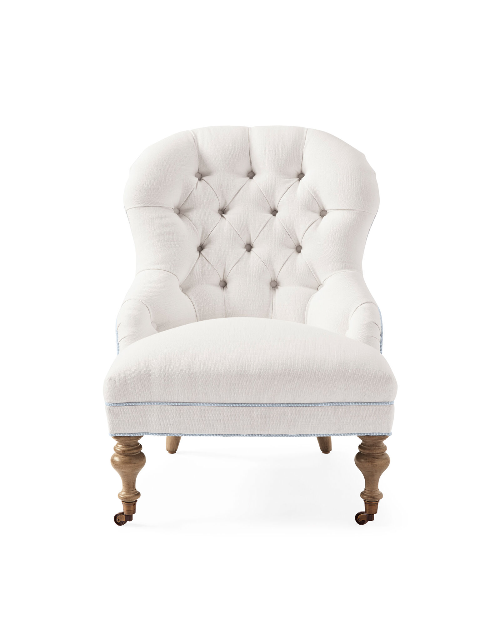 Piccadilly Chair – Perennials® White Basketweave with Coastal Blue Piping,