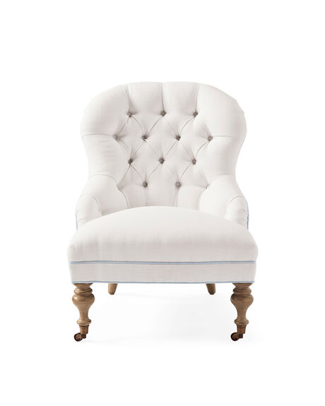 Piccadilly Chair – Perennials® White Basketweave with Coastal Blue Piping