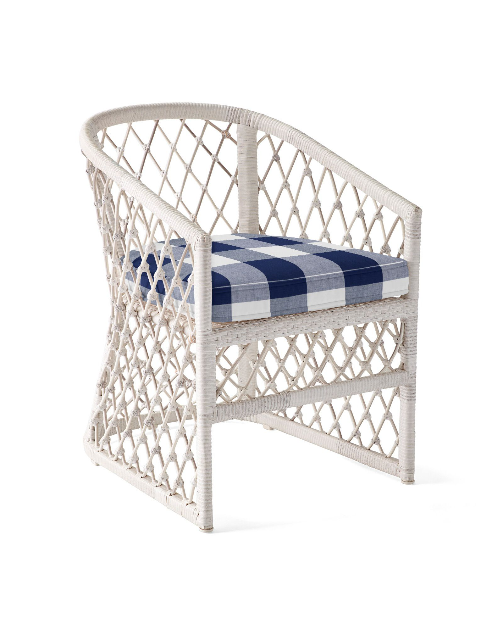 Cushion Cover for Capistrano Dining Chair, Perennials Gingham Navy