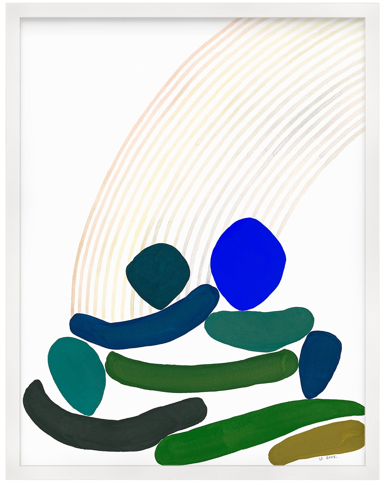 """""""Rainbows V"""" by Ruth Le Roux, White Frame"""