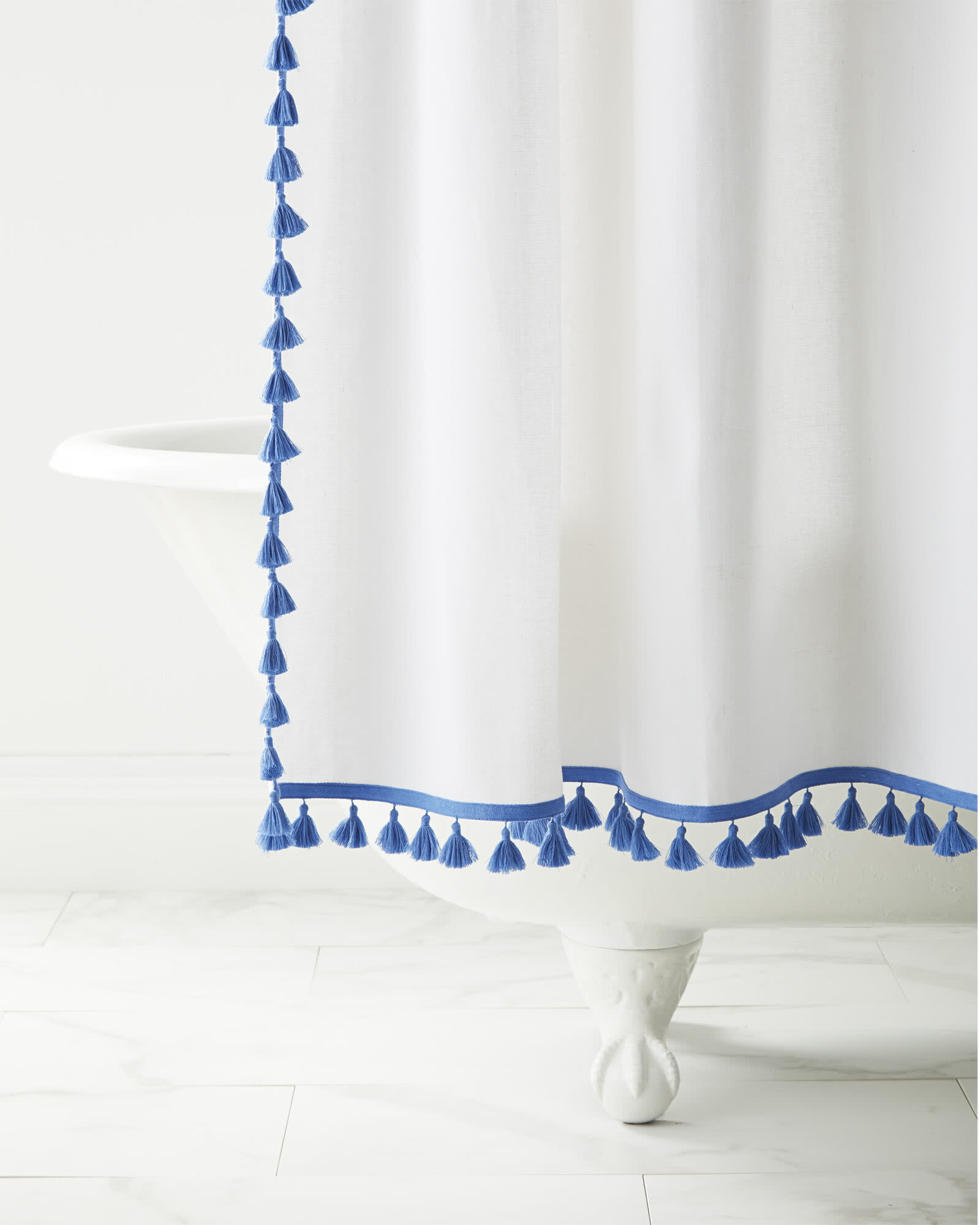 French Tassel Shower Curtain, French Blue