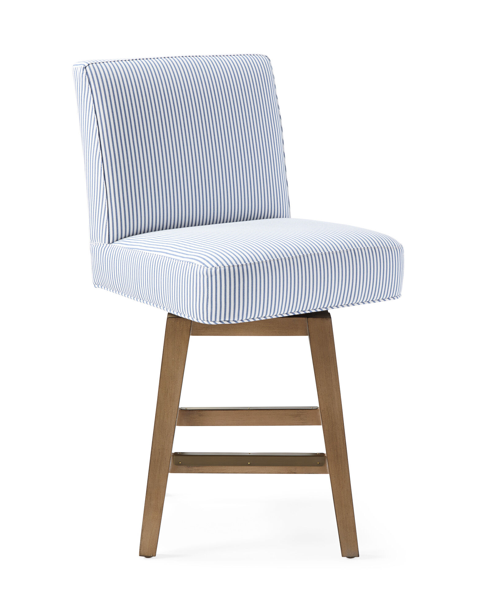 Ross Swivel Counter Stool - Perennials® French Blue Pinstripe