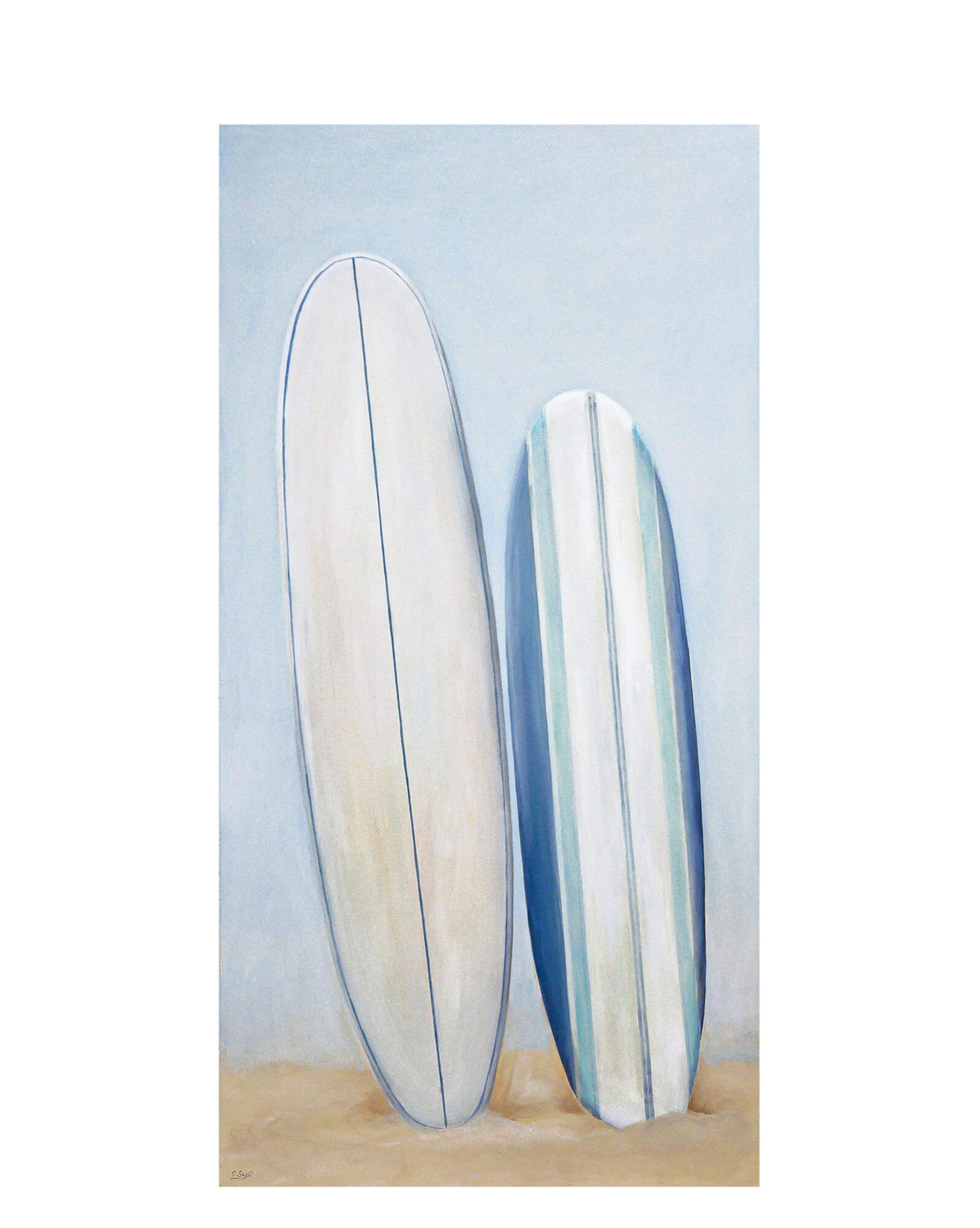 """""""Surboards on the Beach"""" by Carol Saxe,"""