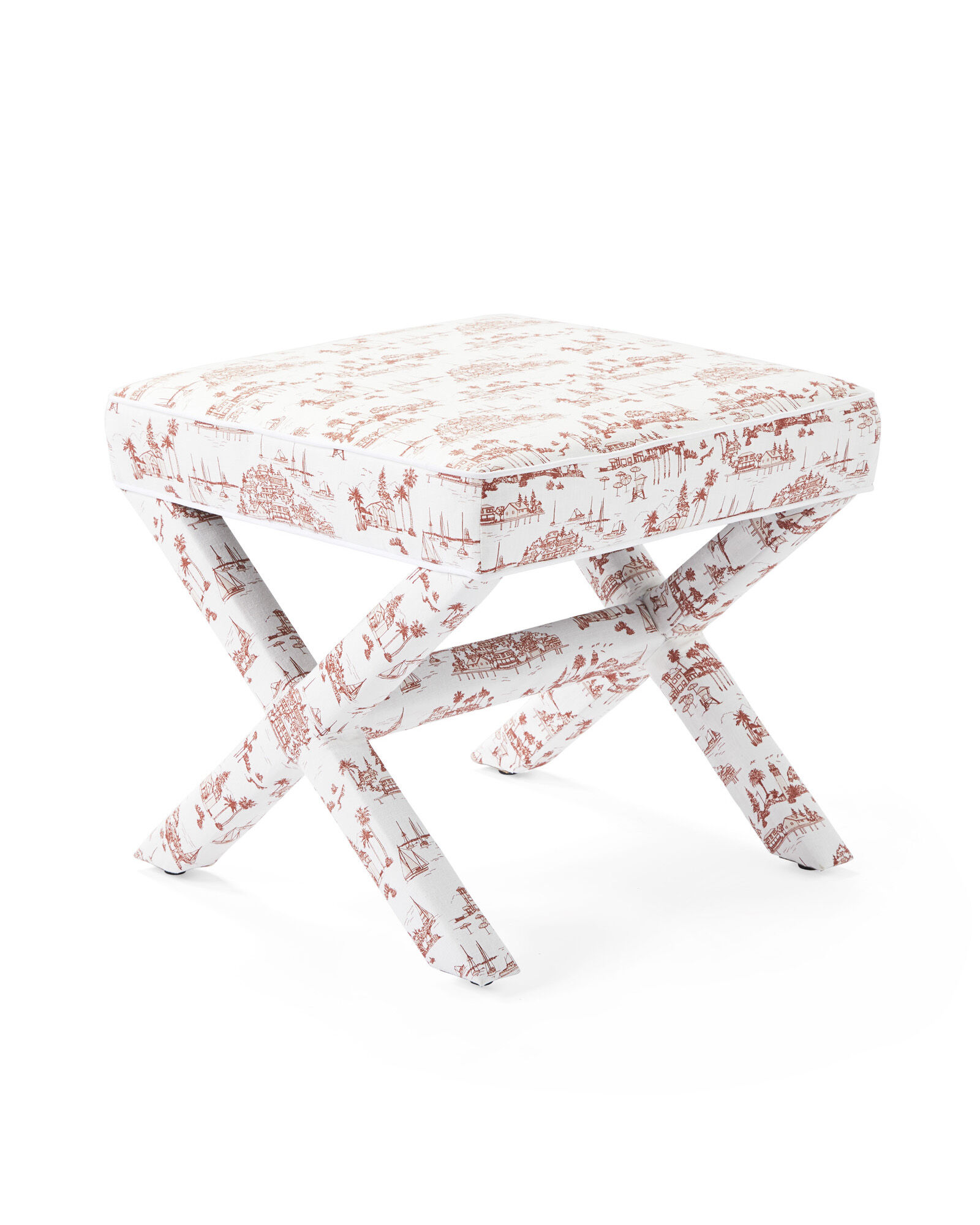 Parker X-Base Stool - Seahaven Terracotta Linen with White Piping,