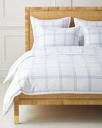Alpine Flannel Duvet Cover, White/Chambray