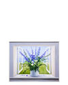 """""""Blue and White Flowers on Windowsill"""" by Carol Saxe,"""