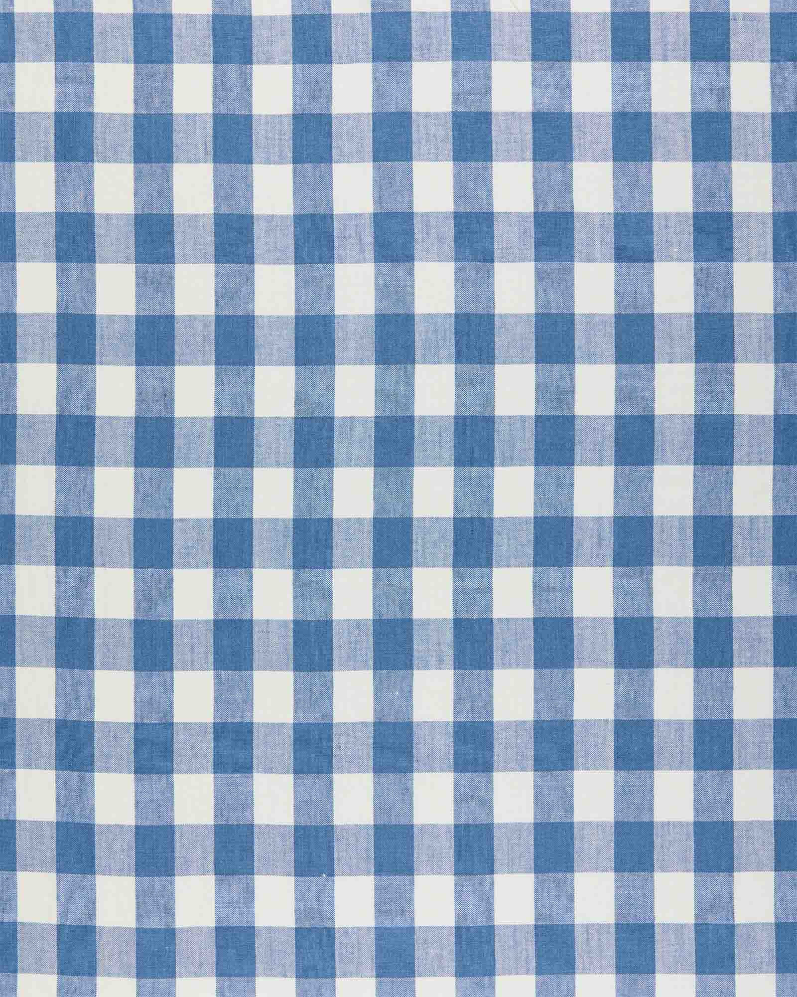 Fabric by the Yard - Classic Gingham Linen, French Blue