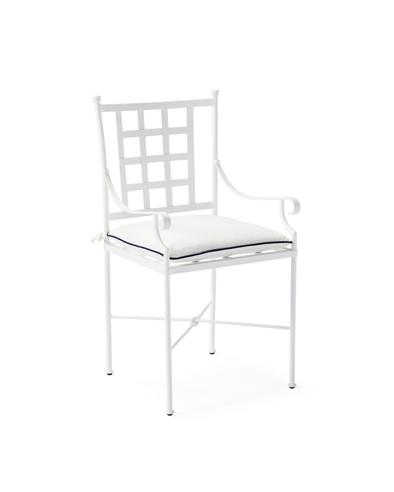Gardener Dining Chair with White/Navy Cushion