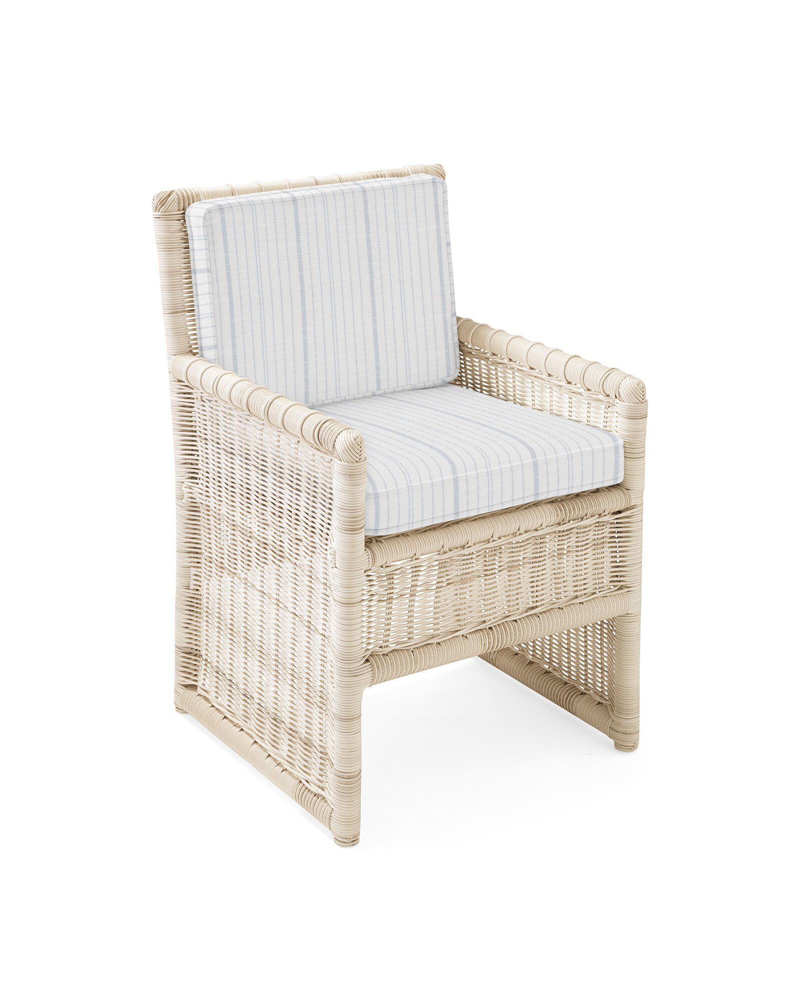 Cushion Cover for Pacifica Dining Chair, Surf Stripe Coastal Blue