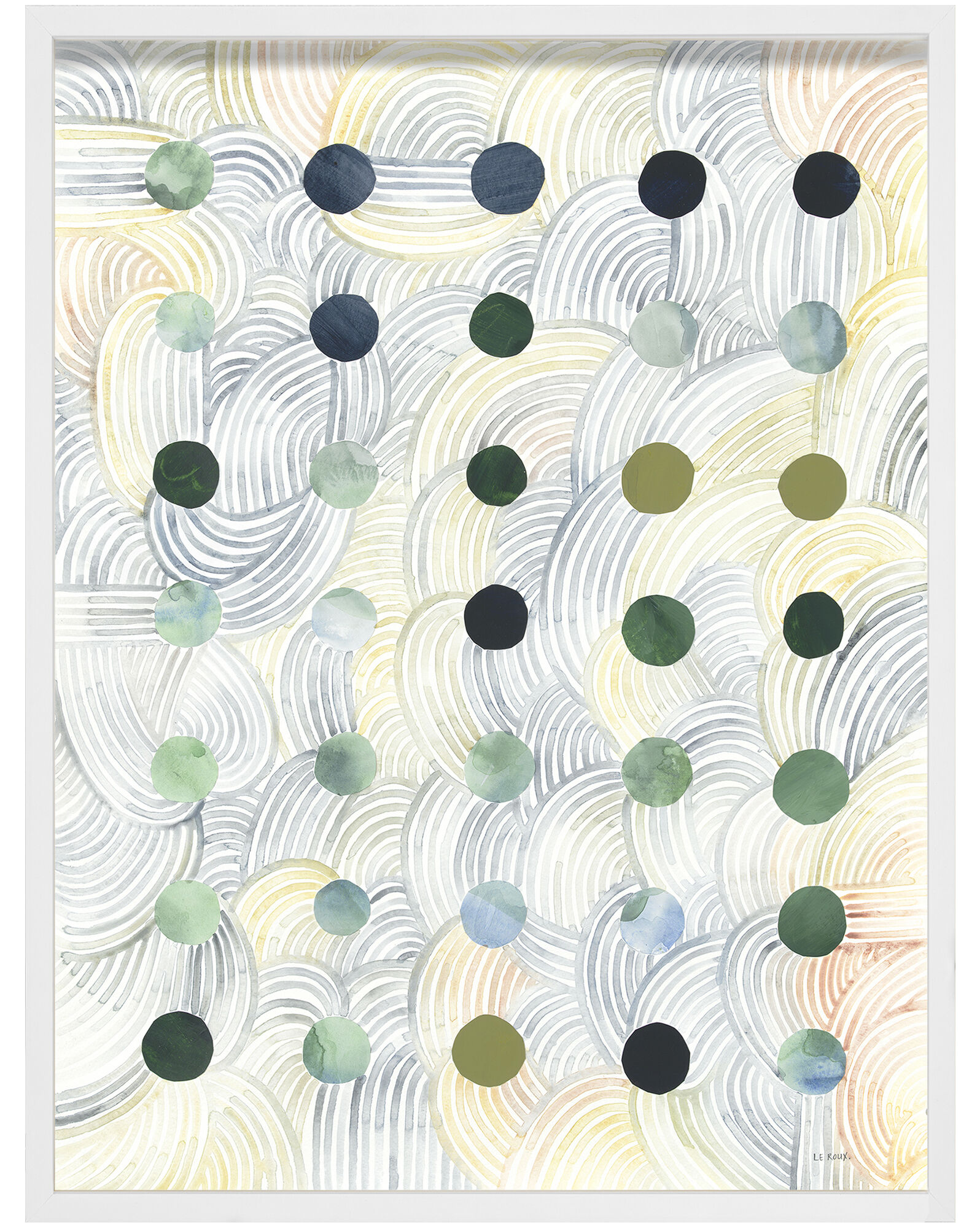 """""""Dots I"""" by Ruth Le Roux, White Frame"""