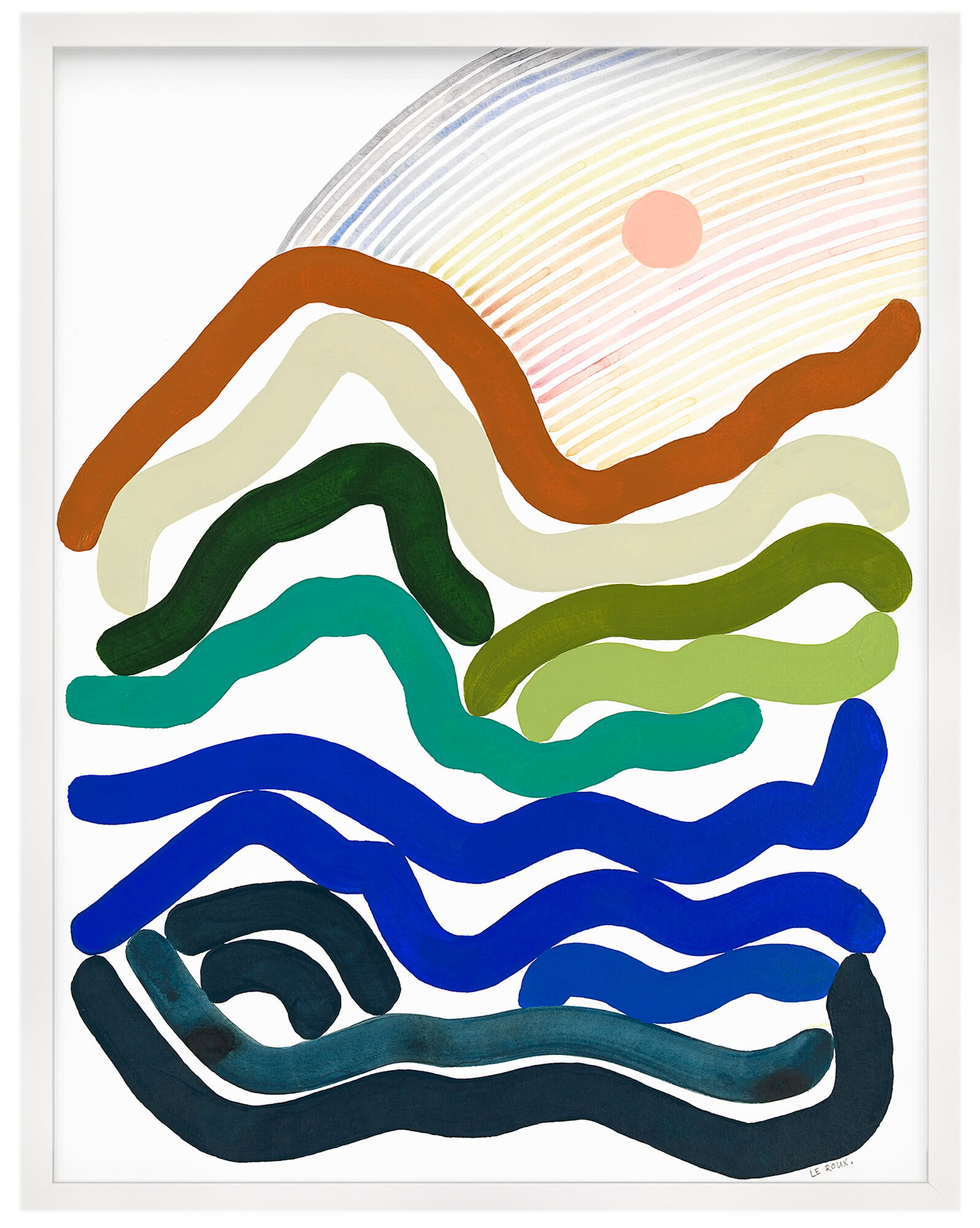 """""""Rainbows VII"""" by Ruth Le Roux, White Frame"""