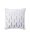 Embroidered Leaf Pillow Cover, Blue