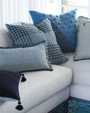Blakely Plaid Pillow Cover, Chambray
