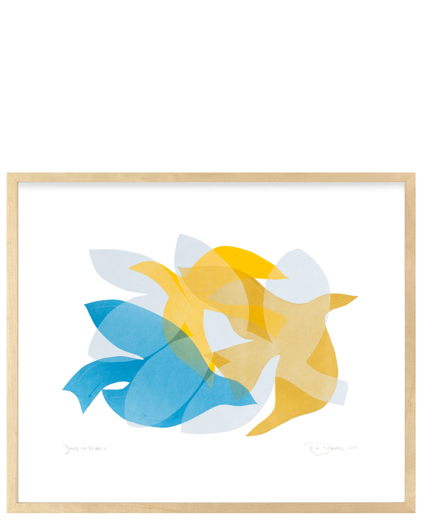 """""""Doves in Flight I"""" by Rob Delamater, Maple Frame"""