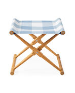 Teak Camp Stool, Perennials Gingham Coastal Blue