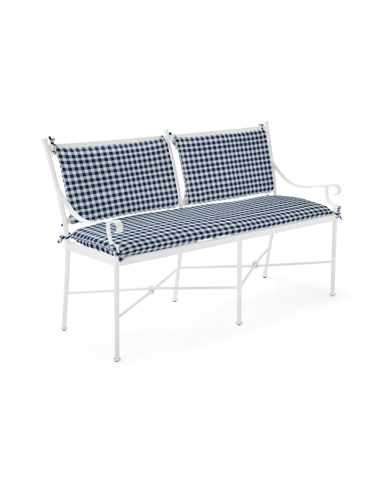 Cushion Cover for Gardener Bench, Perennials Classic Gingham Navy