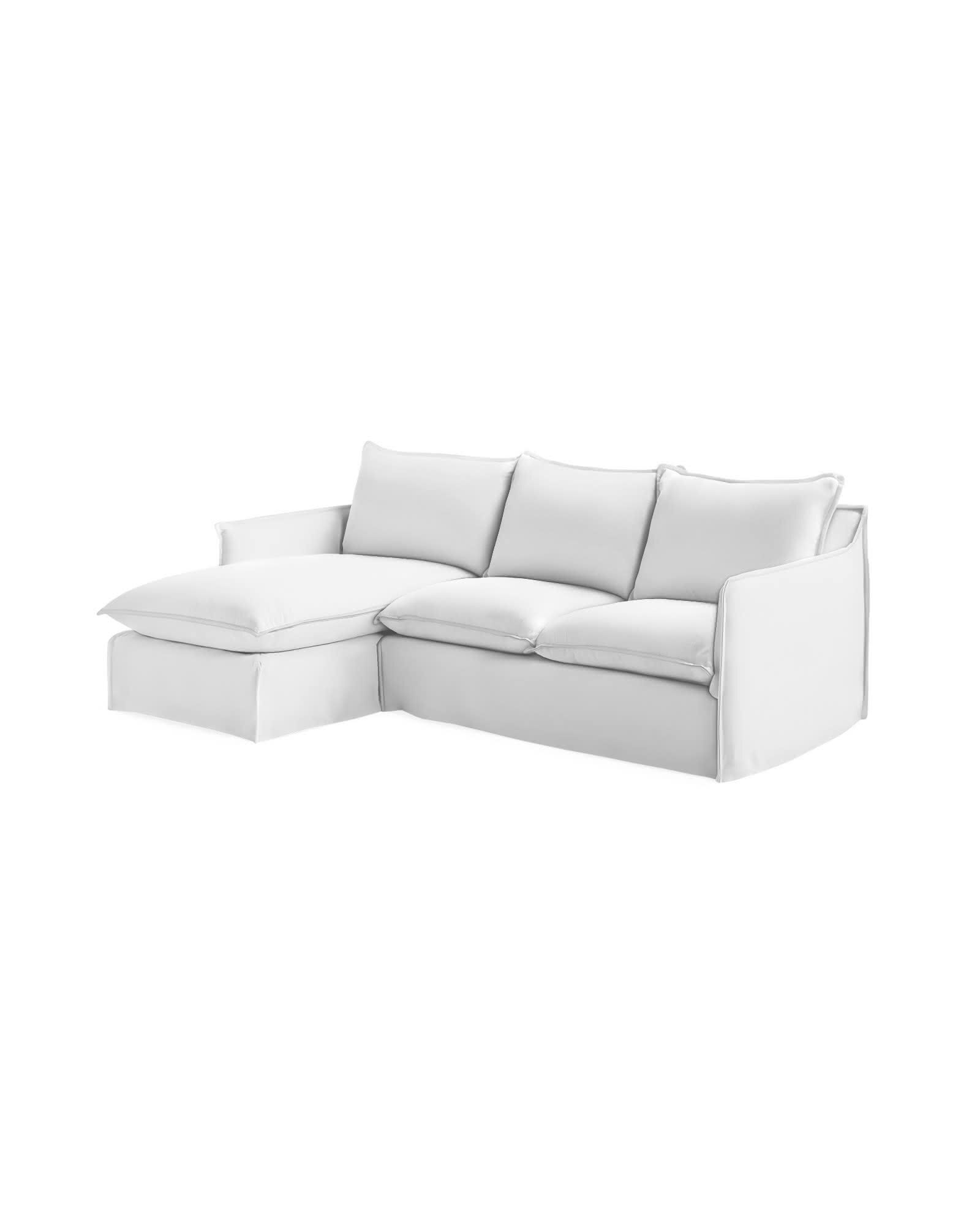 Sundial Outdoor Chaise Sectional - Left-Facing - Perennials® White Basketweave,
