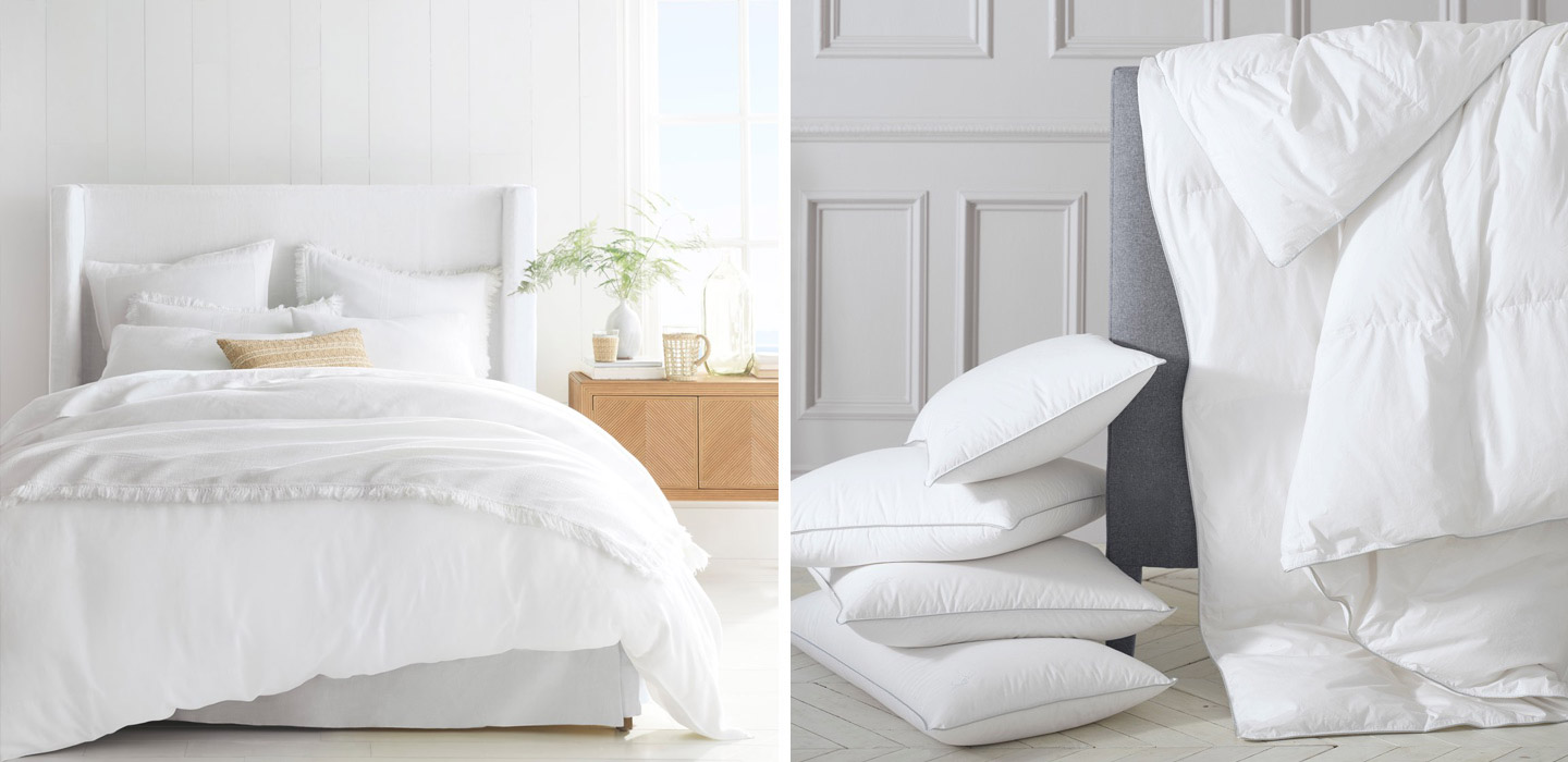 Tall Broderick Bed with White Bedding & Bedding Inserts Assortment