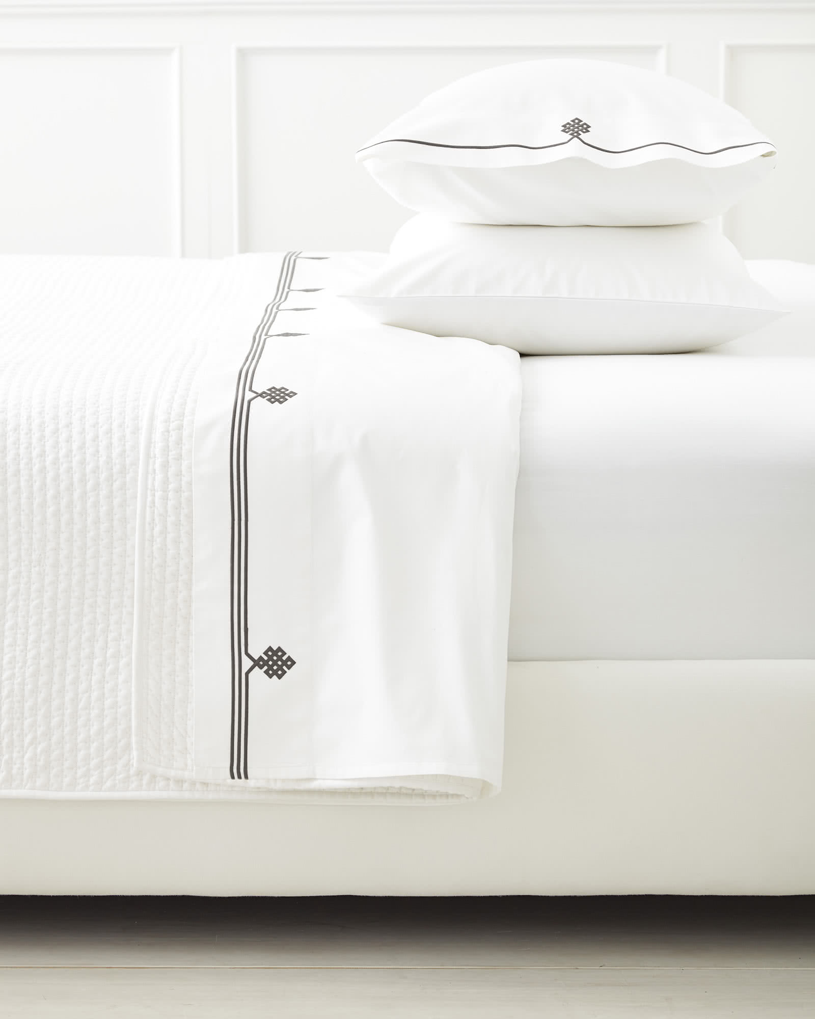 Gobi Embroidered Sheet Set, Pewter