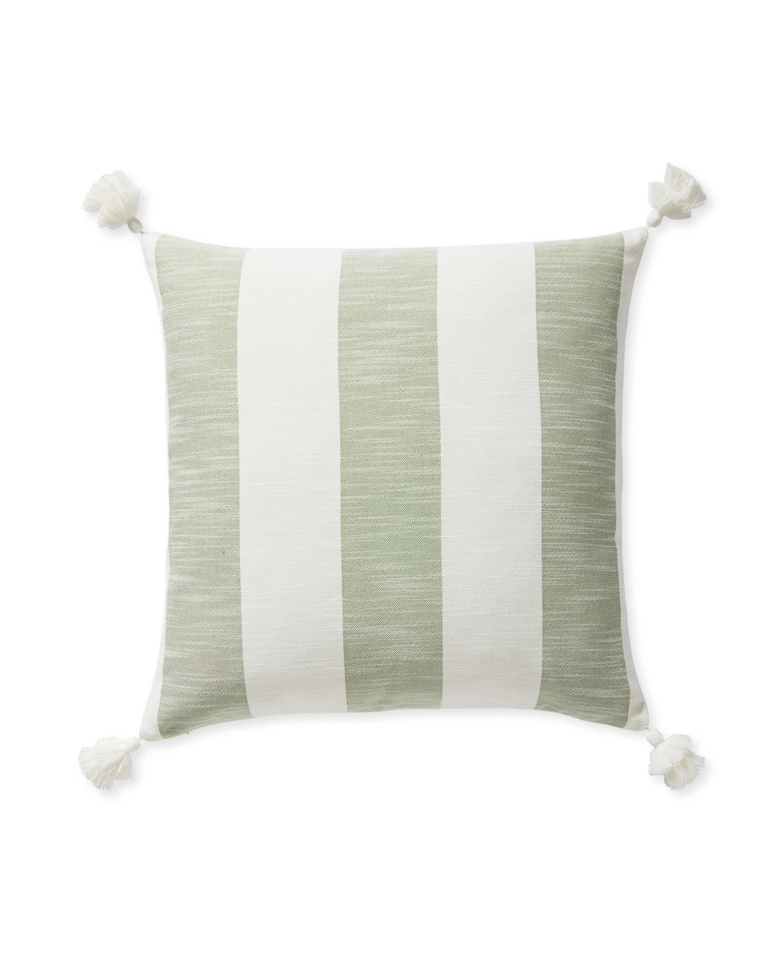 Beach Stripe Pillow Cover, Moss Green
