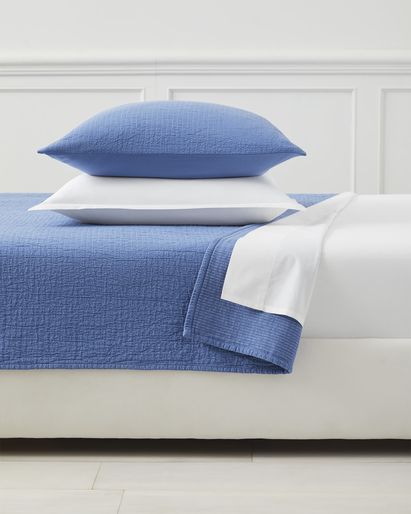 Pickstitch Matelassé Coverlet, French Blue