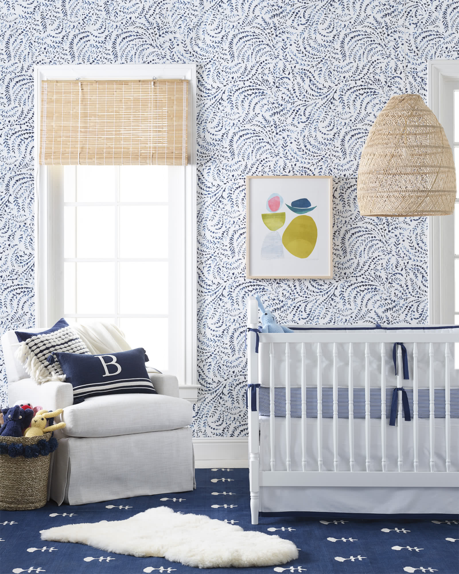 Nursery Basics Crib Bumper, Navy