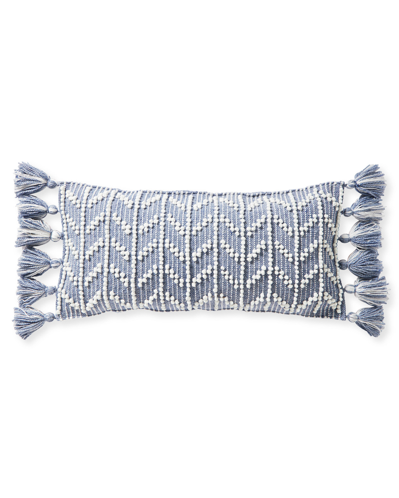 Blue grey pillow with tassels. #pillows #homedecor