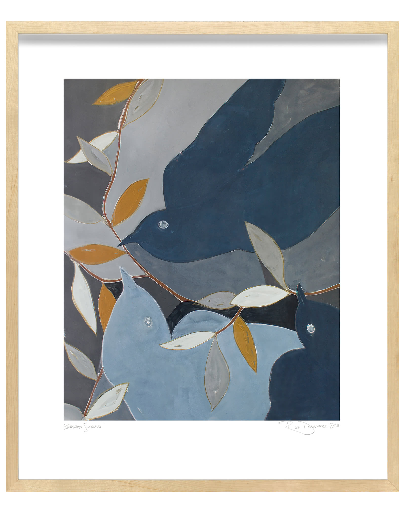 """Italian Swallows"" by Rob Delamater, Maple Frame"