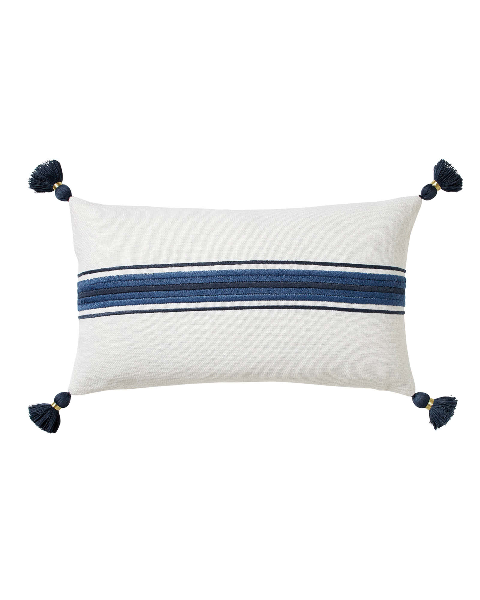 Addie Stripe Tassel Pillow Cover, White/Navy