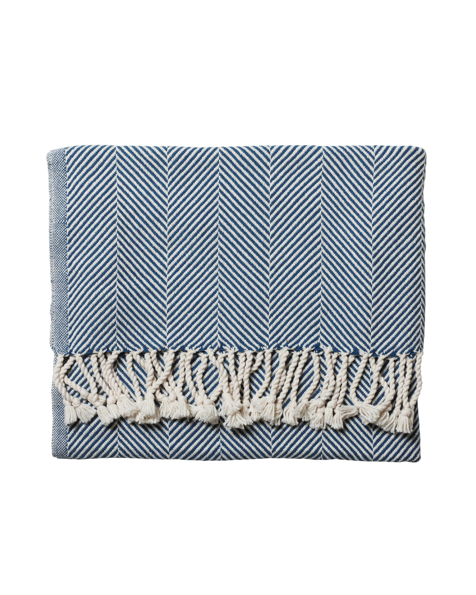 Brahms Mount Herringbone Throw, Indigo