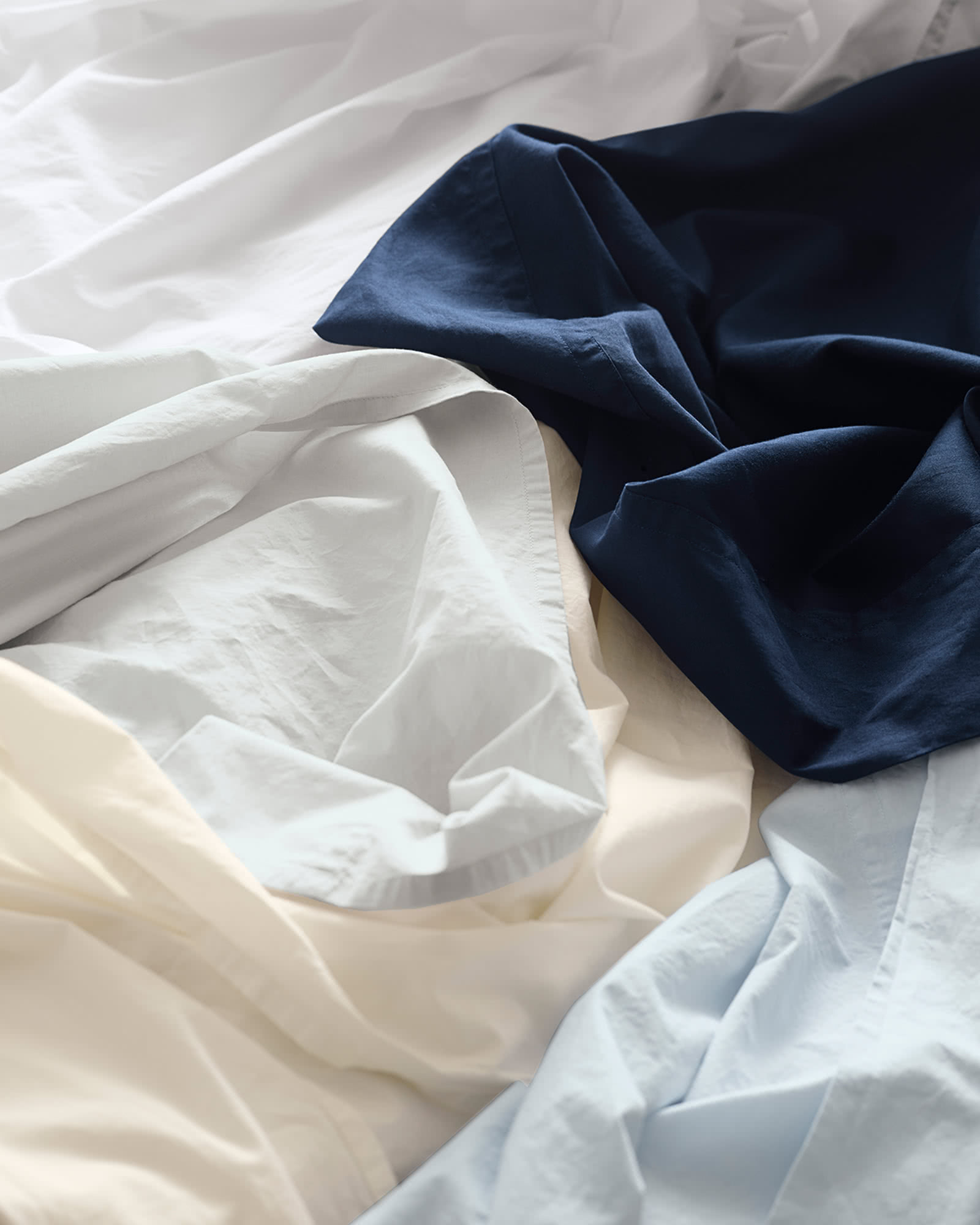 Portofino Washed Percale Sheet Set, White