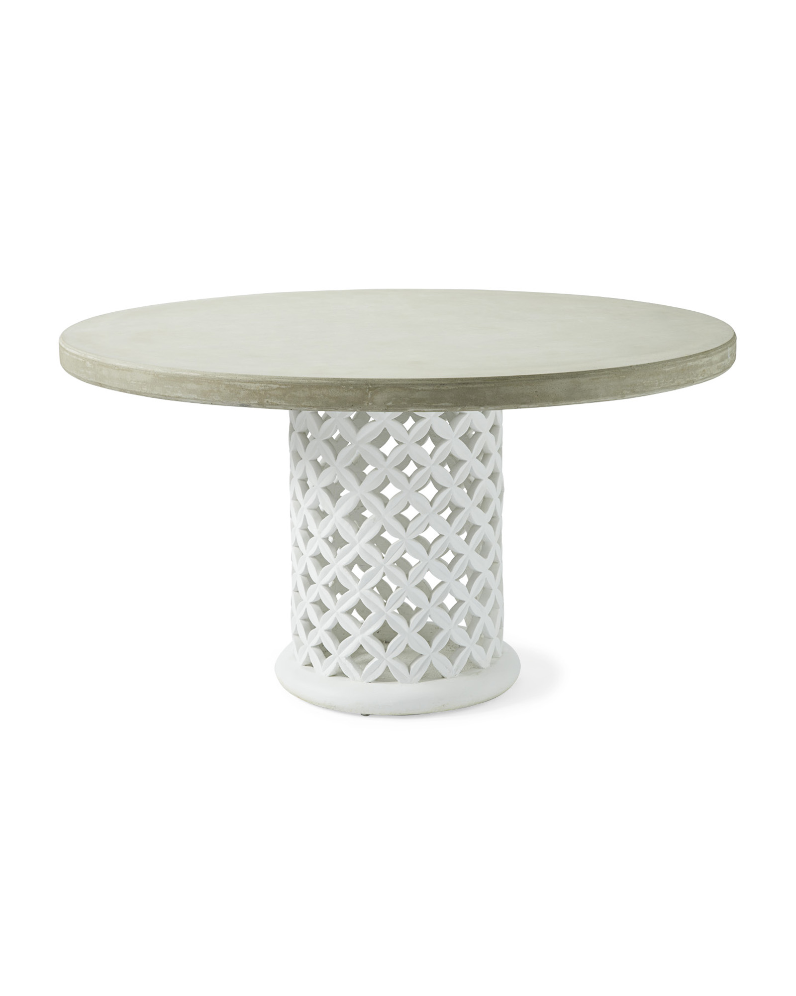 Bamileke Round Dining Table, Fog/White