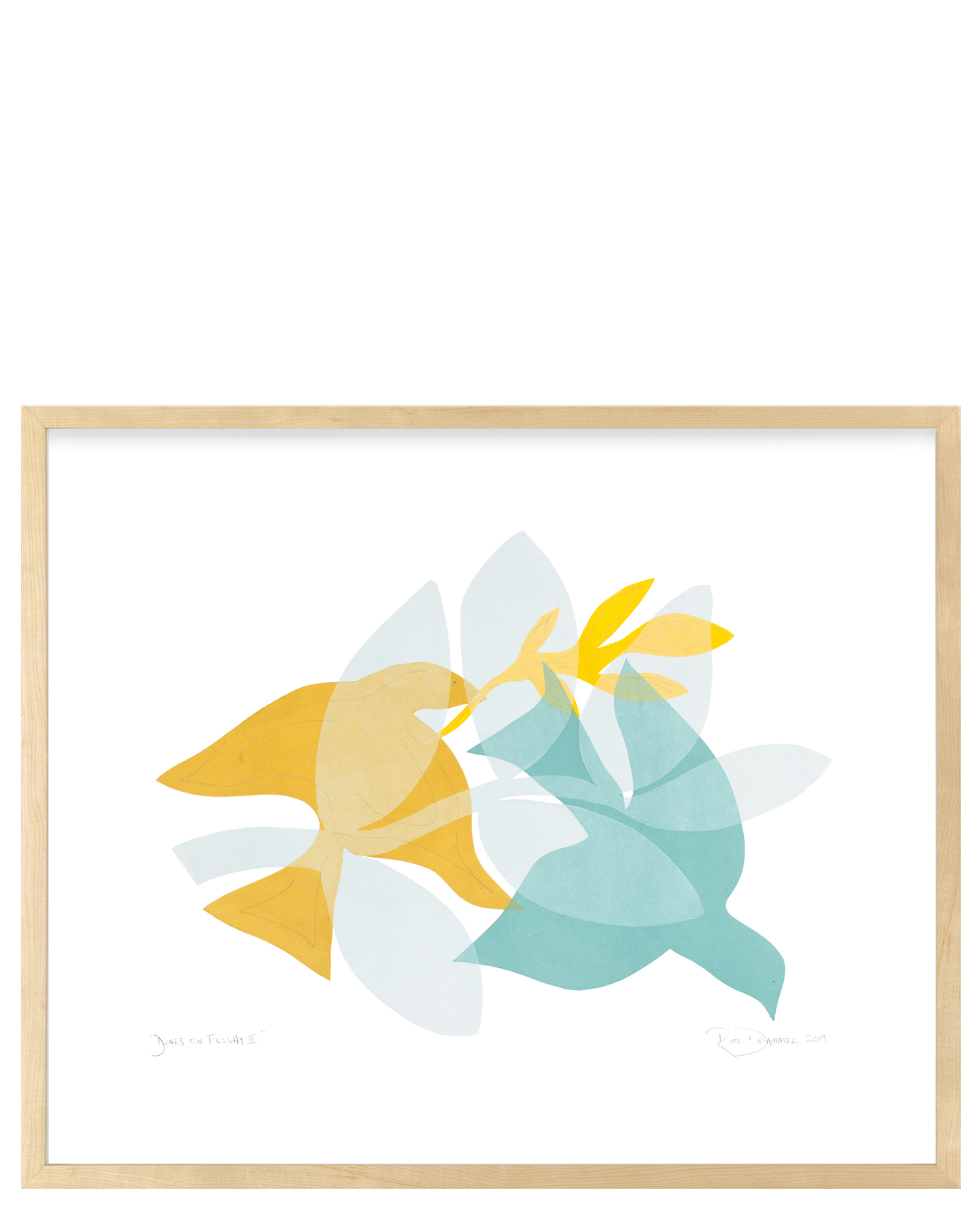 """""""Doves in Flight II"""" by Rob Delamater, Maple Frame"""
