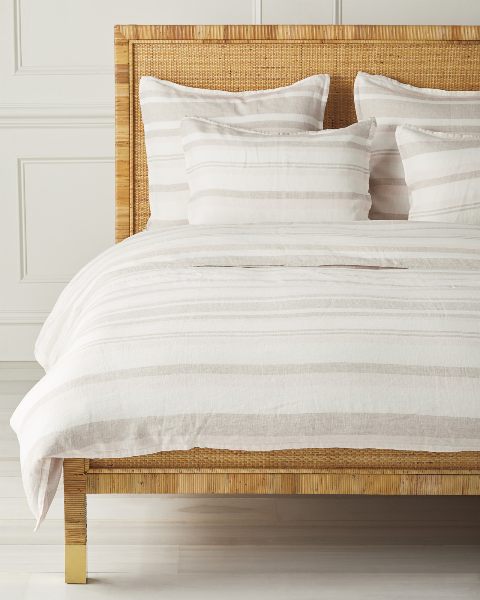 Seabright Linen Duvet Cover, Flax/Pink Sand