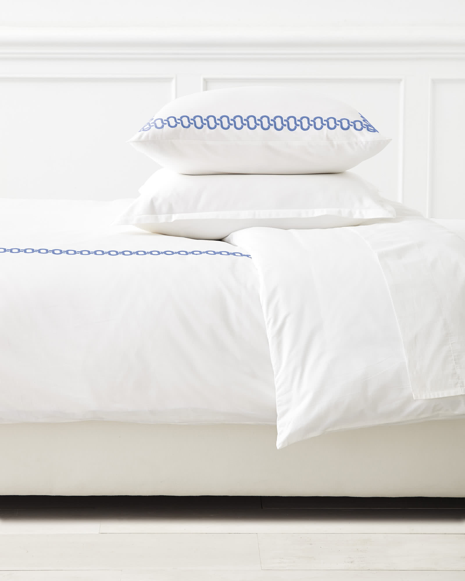 Savoy Embroidered Duvet Cover, French Blue