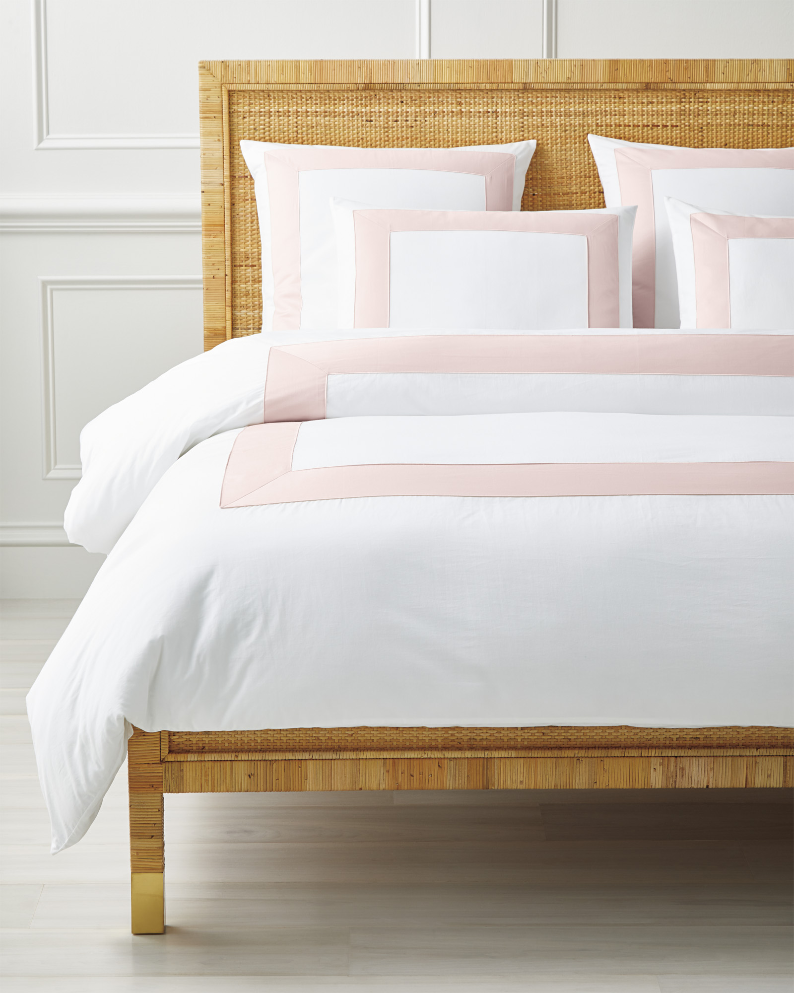 Beach Club Border Duvet Cover, Pink Sand