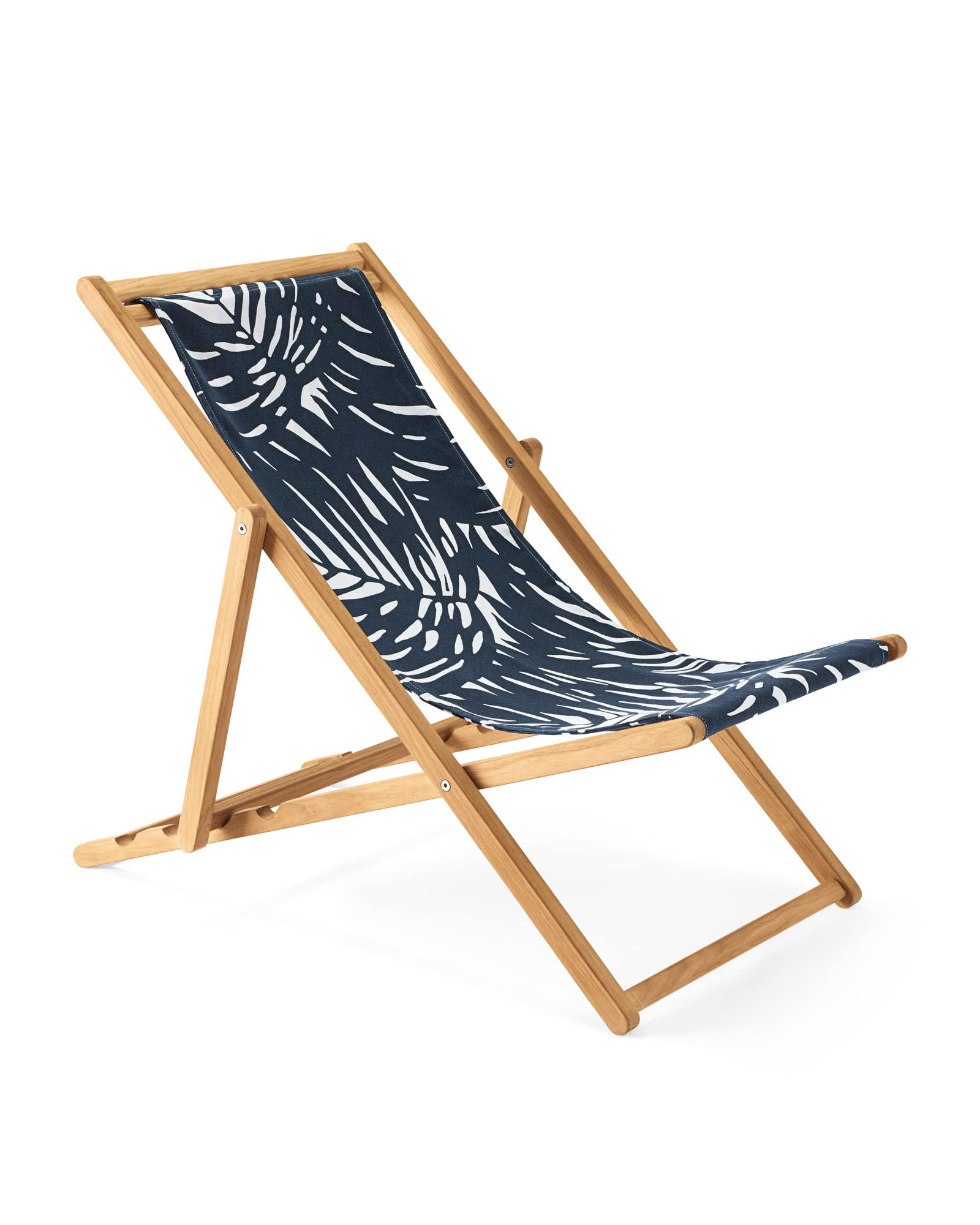 Teak Sling Chair, Palm Navy