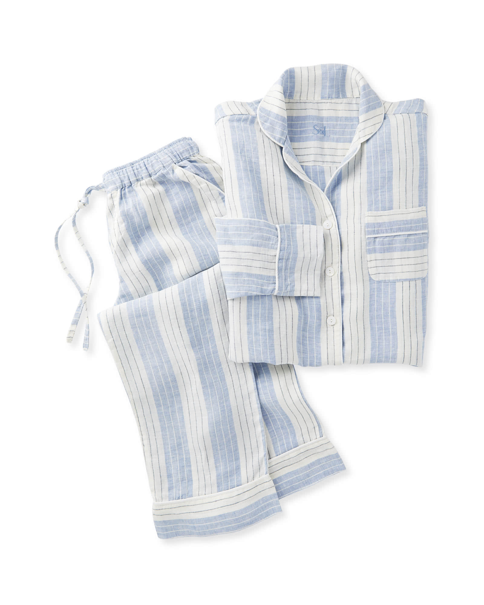 Porto Linen Pajamas, Blue Chambray