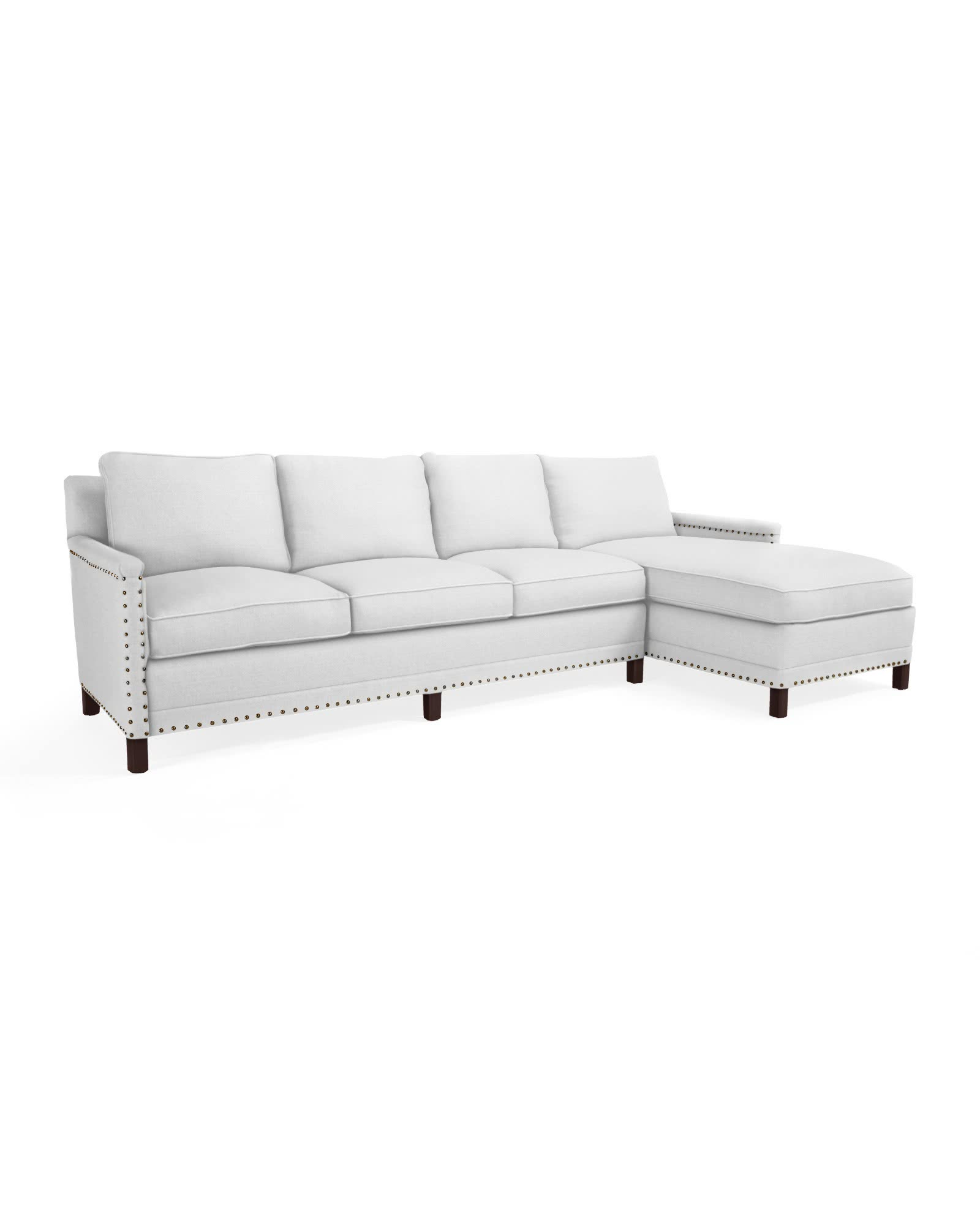 Spruce Street Right-Facing Chaise Sectional with Nailheads,