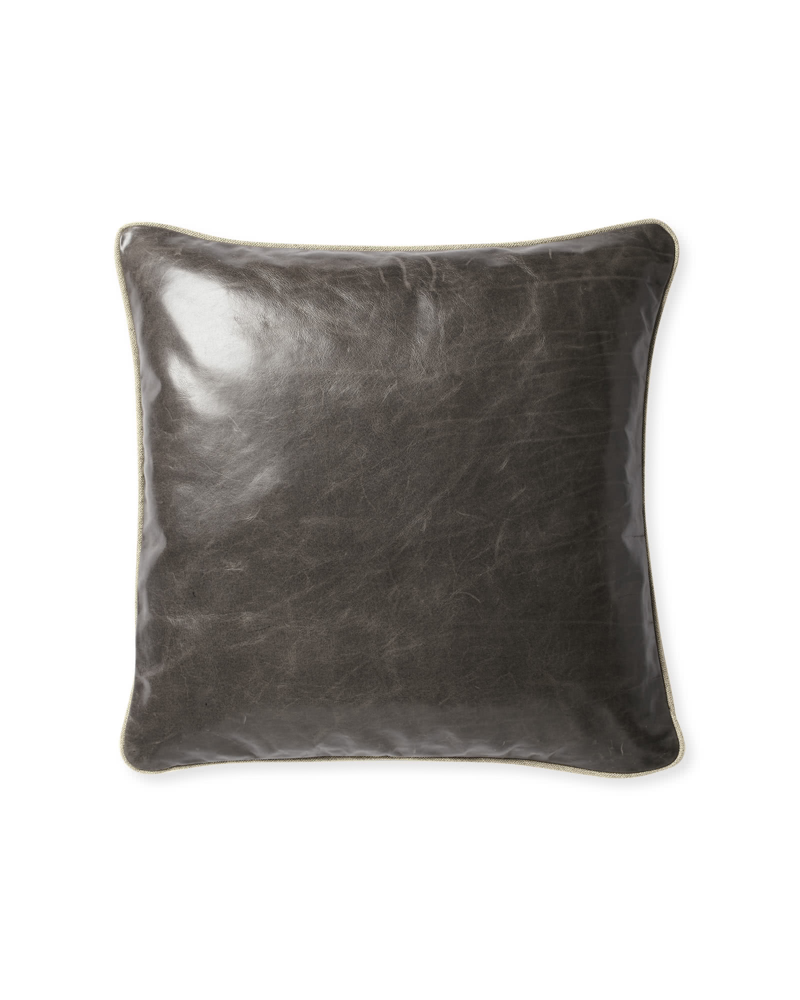 Leather Pillow Cover, Pewter